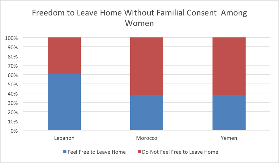 Note: These statistics come from the Status of Women in the Middle East and North Africa Survey conducted by the International Foundation for Electoral Studies in 2010. The chart is the author's own.